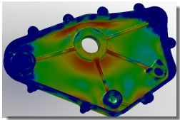 Gear Box Cover Factor of Safety by SolidWorks Simulation